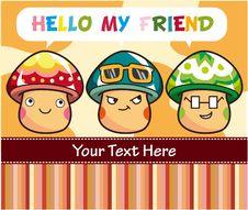 Free Cartoon Mushroom Card Royalty Free Stock Image - 18685046