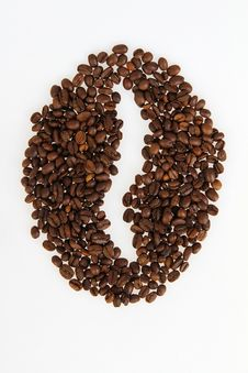 Free Roasted Beans Gathered In A Shape Of Coffee Stock Image - 18687831