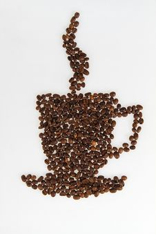 Free Roasted Beans Gathered In A Shape Of Coffee Cup Stock Image - 18687941