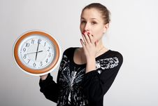 Free Sleeping Girl With A Big Clock In His Hands Royalty Free Stock Photo - 18688035