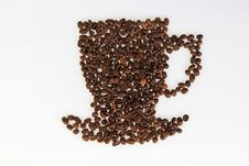Free Roasted Beans Gathered In A Shape Of Coffee Cup Stock Photo - 18688060
