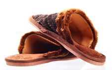 Pair Brown Slippers. Isolated Royalty Free Stock Photo