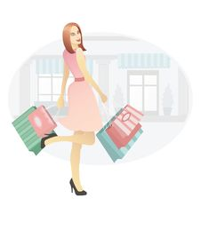 Free Girl With Shopping Bags Royalty Free Stock Images - 18689359