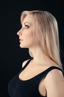 Free Beauty Blonde On Black Royalty Free Stock Image - 18689606