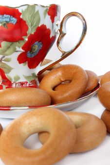 Free Cup Of Tea With Bagels Royalty Free Stock Photo - 18689975