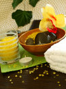 Free Spa Composition Of Towel, Stones And Candle Royalty Free Stock Image - 18695146