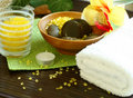 Free Spa Composition Of Towel, Stones And Candle Stock Image - 18696121