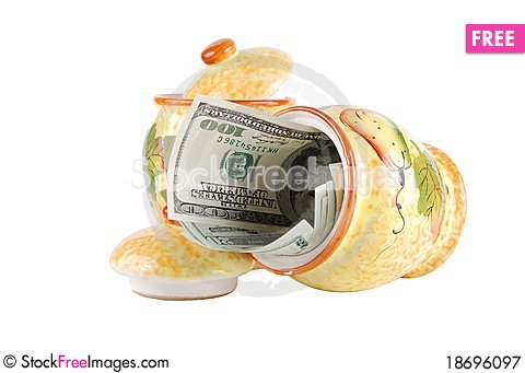 Money in a pot Stock Photo