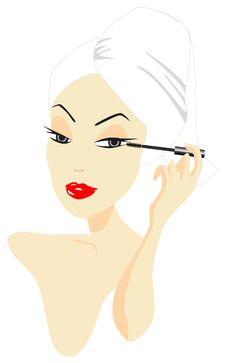 Woman Applying Make-up Royalty Free Stock Photo