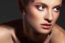 Free Beautiful Woman On Dark Background Stock Image - 18692151