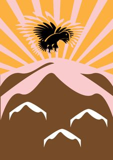 Free The Eagle Flies Over Mountains In Sun Beams Stock Photo - 18693360