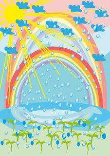 Free Rain, The Sun, Rainbow And Flowers Royalty Free Stock Photos - 18693418