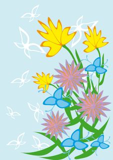 Free Framework With Butterflies And Flowers Stock Photos - 18693433