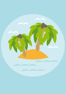 Free Island With Palm Trees In The Sea Royalty Free Stock Image - 18693526