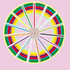 Circle From Color Pencils Royalty Free Stock Photos