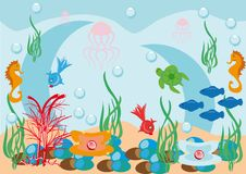 Abstract Underwater Background With Fishes Stock Photos