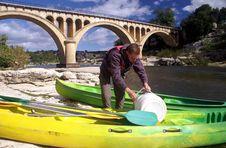 Free Preparing For Kayaking To Pont Du Gard Stock Photography - 18693842