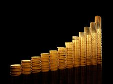 Columns From Coins Stock Photography