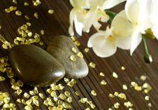 Free Stones, Bath Salts And Orchid Flower Royalty Free Stock Photo - 18696045