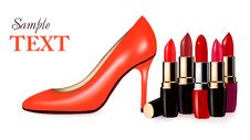 Sexy High Heel Shoe And Group Of Lipsticks. Royalty Free Stock Images