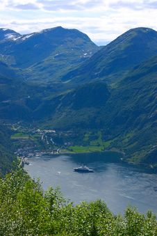 Free Panoramic View Geiranger Village - Horizontal Stock Photo - 18697600