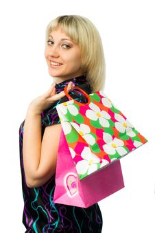 Free Beautiful Girl With Colorful Packages. Royalty Free Stock Images - 18697779