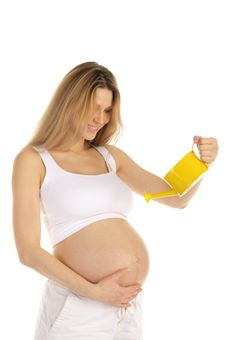 Free Pregnant Woman Watering Her Belly Stock Images - 18698264