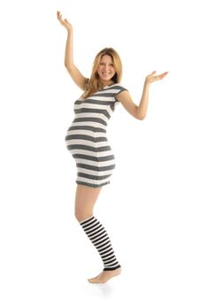 Free Happy Pregnant Woman In A Striped Dress Royalty Free Stock Images - 18698519