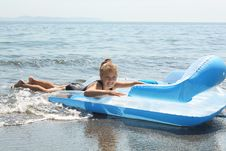 Free Girl On  Inflatable Mattress In Sea Royalty Free Stock Photo - 18699085