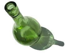Green Bottle With Shadow On White Royalty Free Stock Photos