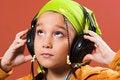 Free Child Listening Music In Headphones Stock Photos - 1870713