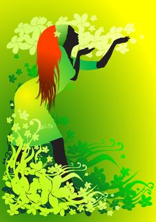 Free Girl On A Flower Background Royalty Free Stock Photography - 1870067