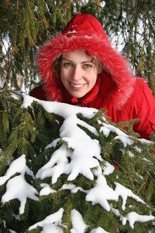 Free Winter Tree And Woman Royalty Free Stock Photos - 1870098