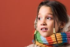 Child With Coat And Scarf Stock Photography
