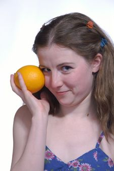 Free The Girl With A Orange Royalty Free Stock Photo - 1871475
