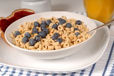 Free Bowls Of Oat Cereal With Blueberries And Spoon, Toast With Raspb Stock Photos - 1875083