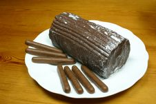 Yulelog And Chocolate Finger Biscuits Stock Photos