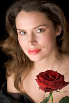 Free Beautiful Lady With Red Rose. Portrait Royalty Free Stock Photo - 1878865