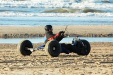 Kite Buggy On The Beach Stock Image