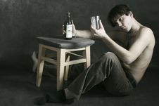 Free Man With Bottle And Glass Stock Photography - 1879492