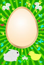 Free Easter Card With Rabbit, Chicken And Flowers Stock Images - 18701774