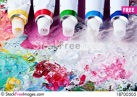 Free Color Palette With Different Color Tubes Royalty Free Stock Photo - 18700505