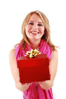 Free Happy Woman With A Gift Stock Photography - 18700192