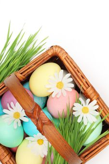 Free Colorful Easter Eggs With Spring Flowers Royalty Free Stock Images - 18700969