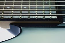 Detail Of Electric Bass Cords And Frets Stock Photo