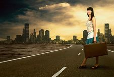 Free Woman On The Road Royalty Free Stock Photos - 18701918