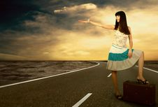 Free Woman On The Road Stock Image - 18701971