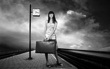 Free Woman On The Platform Stock Image - 18701991