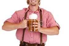 Free Happy Bavarian Man  Holds Oktoberfest Beer Stein Royalty Free Stock Image - 18702046