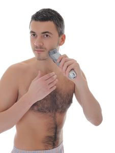 Free Young Handsome Male Shaving Face Beard . Isolated Stock Image - 18703851